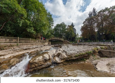 KISLOVODSK, RUSSIA - August 15, 2015: urban resort park at the foot of the Caucasus Mountains - a favorite place for walking tourists and vacationers.