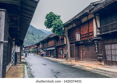 KISO VALLEY, JAPAN - June 10, 2018:Kiso valley is the old  town or Japanese traditional wooden houses for the travelers walking at historic old street  in Narai-juku , Nagano Prefecture, JAPAN.