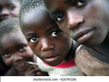 KISORO, UGANDA/EAST AFRICA - January 28th 2009 - Children displaced by the conflict in D R Congo and living with their families in makeshift shelters on the outskirts of Kisoro, Uganda, East Africa.