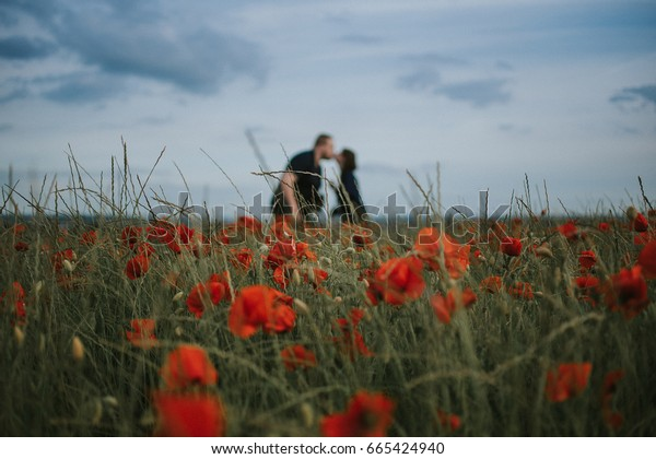 Kiss in field of poppies