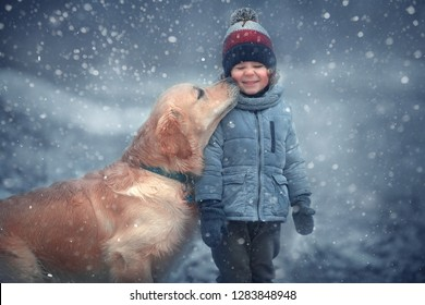 A kiss of friendship. Cute dog is kissing a little boy. Image with selective focus and toning