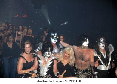 Kiss with Joanie Laurer, l, and Anna Nicole Smith, ctr, at LANE BRYANT LINGERIE FASHION SHOW, NY 2/5/2002