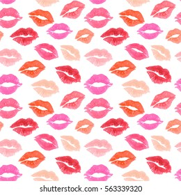 kiss lips seamless pattern lover Valentine colorful love kiss red pink lip pattern lipstick watercolor set lip outline shape imprint mask isolated background; illustration watercolour. print patterns.
