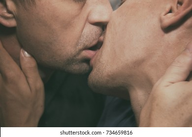 Kiss. Love and romance. Two beautiful men.