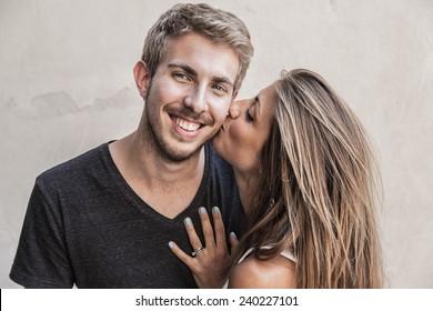 Kiss Young Couple
