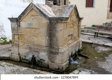 Kissamos Greece 12-17-2018. Venetian fountain at Kissamos in Crete Greece