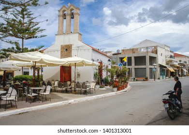 Kissamos, Greece - May 18, 2007: Small church in Kissamos town on a Greek Island of Crete