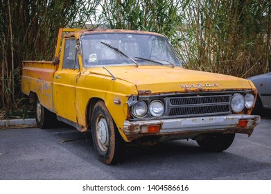 Kissamos, Greece - May 18, 2007: Old Mazda car in Kissamos town on a Greek Island of Crete
