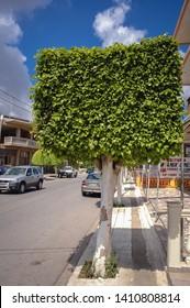 Kissamos, Greece - May 22, 2007: Street in Kissamos town on the Crete Island