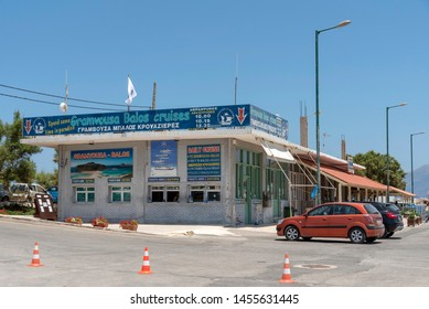 Kissamos Port, Kastelli, Crete, Greece. June 2019. Booking office for ferries to Gramvous and Balos Lagoon. Day trips for tourists to sunbathe.