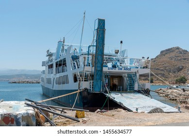 Kissamos Port, Kastelli, Crete, Greece. June 2019. The ferry Spirit of Athos which sails to Gramvous and Balos Lagoon on a daily service for tourists.