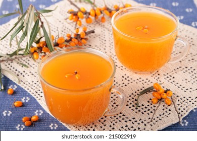 Kissel of seabuckthorn berries in two glass cups