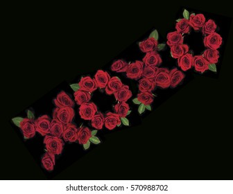 Kisses and hugs message with red roses on a black background.