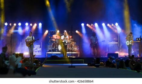 KISSIMMEE, FL-MAR 18: (L-R) Trevor Rosen, Matt Ramsey, Geoff Sprung & Brad Tursi of Old Dominion perform at Runaway Country Music Fest at Osceola Heritage Park on March 18, 2016 in Kissimmee, Florida.