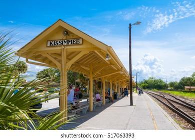 Kissimmee Florida - June 4th 2009:   Kissimmee Florida outdoor train station platform, Kissimmee Floirda, June 4th, 2009