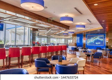 KISSIMMEE, FLORIDA - MAY 29, 2019: Margaritaville Resort Orlando. Modern bar and restaurant Euphoria located inside of the main resort lobby with upscale dining.