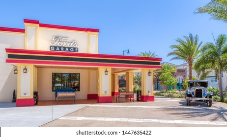 KISSIMMEE, FLORIDA - MAY 29, 2019: Ford's Garage. Restaurant for burgers and craft beer located in the shopping district of Sunset Walk near Margaritaville Resort Orlando. Featuring vintage vehicles.