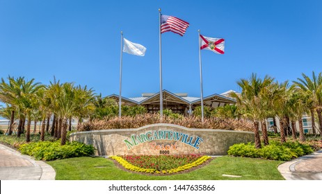 KISSIMMEE, FLORIDA - MAY 29, 2019: Margaritaville Resort Orlando. The main entrance of a new tropical caribbean themed hotel near Disney and Universal theme parks.
