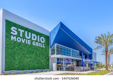 KISSIMMEE, FLORIDA - MAY 29, 2019: Studio Movie Grill, Kissimmee, FL - Big modern movie theater and grill at Sunset Walk within walking distance to Margaritaville Resort in Orlando, Florida..