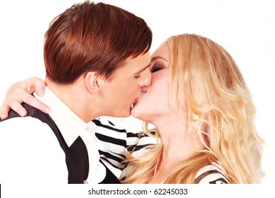 Kissing couple, closeup in horizontal