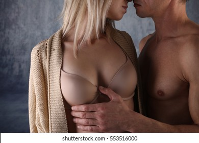 Kissing couple. Love, Sex, Foreplay, Relationship, Tenderness concept