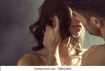 Kissing couple portrait