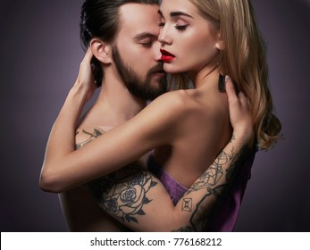 Kissing couple.beautiful woman and handsome man.lovely boy and girl