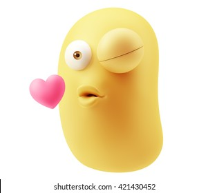 Kissing Emoticon Character Face Expression. 3d Rendering.