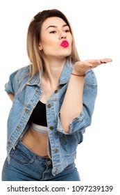 Kissing girl on white background