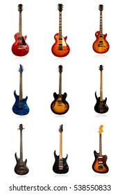 Kit of different electric guitar with reflection isolated on white background