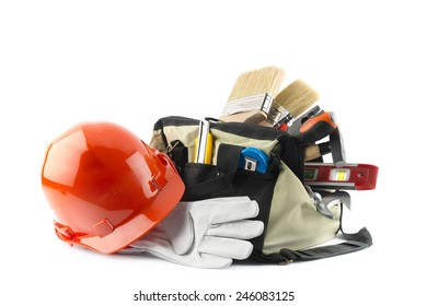 kit of tools isolated on white background