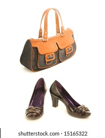 Kit of two classic items, shoes with high heel and elegant jeans handbag