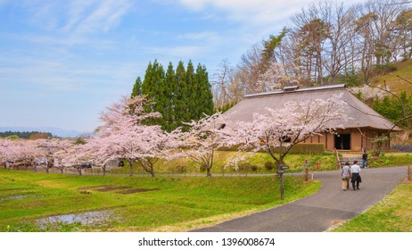 Kitakami, Japan - April 22 2018: Michinoku Folklore Village is a treasure trove of historic houses and folkloric artifacts. Most of the buildings and artifacts date back from the Edo Period