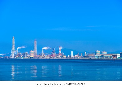 Kitakyushu Industrial Area with a view of Dokai Bay in summer