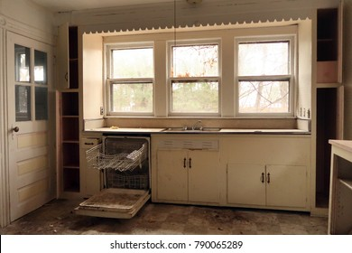 Kitchen of an abandoned farmhouse. Natural light.