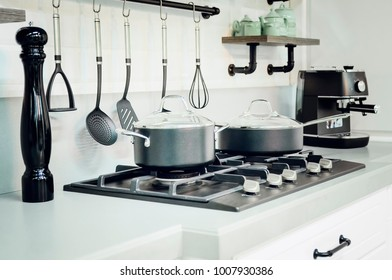Kitchen accessories, dishes. Modern kitchen interior