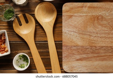 Kitchen accessories on wooden table