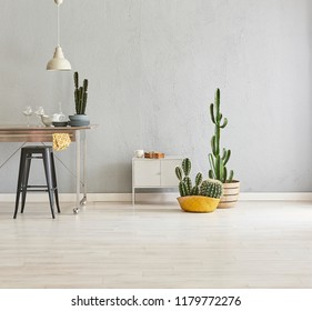 Kitchen accessory and metal table style in the grey room with vase of plant.