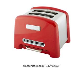 Aparatos de cocina - tostadora de color plata y rojo, aislada en fondo blanco