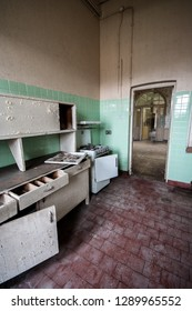 Kitchen area at an abandoned and derelict lunatic asylum/hospital, Cane Hill, Coulsdon, Surrey, England, UK