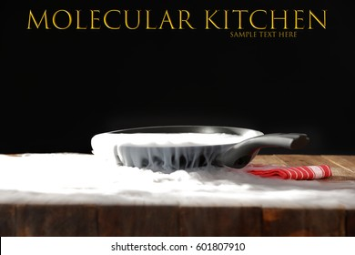 Kitchen background of pan and dry ice