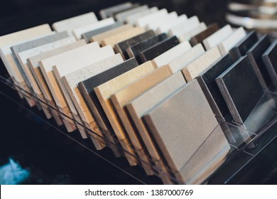Kitchen bathroom tiles showroom display of new tiling option for floors and walls for home building improvement works. - Shutterstock ID 1387000769
