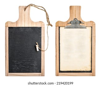 kitchen board with chalkboard and clipboard for your text and recipe isolated on white background