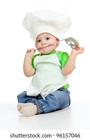 kitchen boy with ladle isolated on white