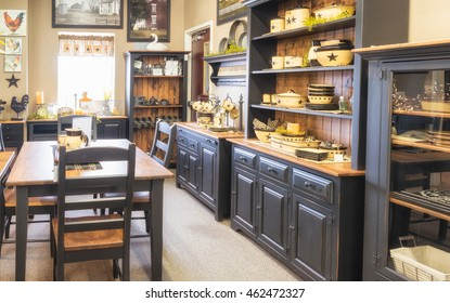 Kitchen with bright windows. This is shot in a display room in a furniture store.
