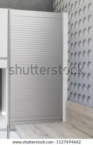 Kitchen Cabinet Aluminum Roll Doors Simplicity Stock Photo Edit Now