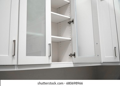 kitchen cabinet with door open