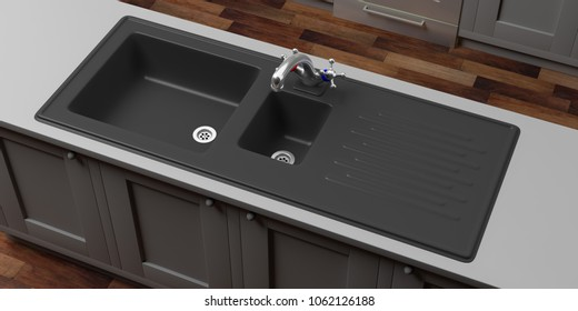 Kitchen cabinets with black sink and water tap, wooden floor, prespective view from above. 3d illustration