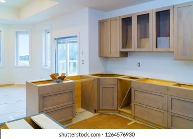 Kitchen cabinets installation Improvement Remodel worm's view installed in a new kitchen