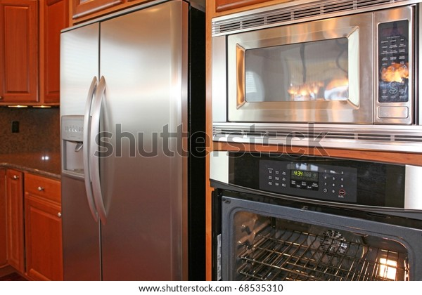 Kitchen Cherry Cabinets Grey Granite Stock Photo Edit Now 68535310